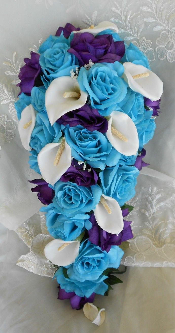 Cascade Bridal Bouquet Turquoise Royal Blue Roses With Diamond