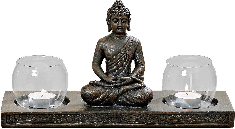 Buddha Figur Auf Podest Mit 2 Windlichtern Tolle Deko Fur Dein