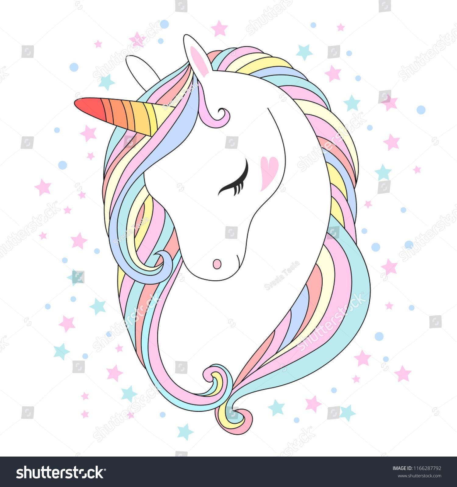 White unicorn head vector illustration. Cute pony face