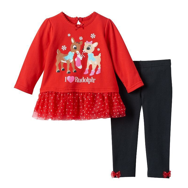8a42f0145f0f Baby Girl Rudolph the Red Nosed Reindeer Clarice Tutu Tee   Leggings ...