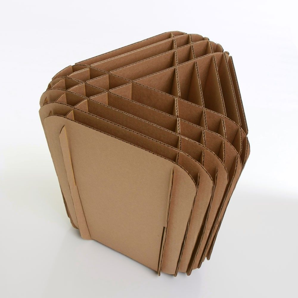 Sculptural stool made from fifteen slotted and