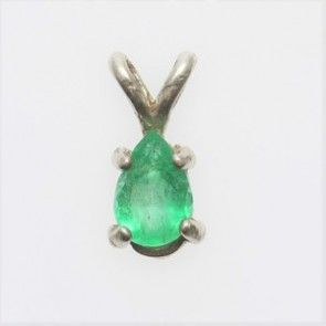 Sterling Silver .45 ct Pear Emerald Pendant Jewelry - JBS11