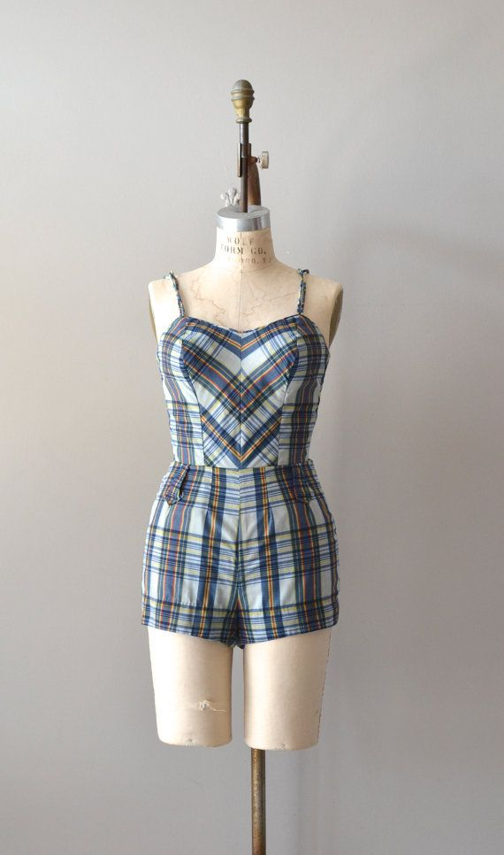 86ea2be918 1950s swimsuit   vintage 50s bathing suit   Nantucket Plaid swimsuit ...
