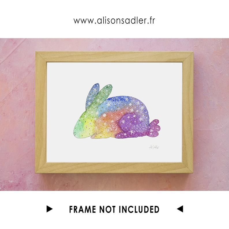 Art De Lapin D Arc En Ciel Impression D Art D Aquarelle