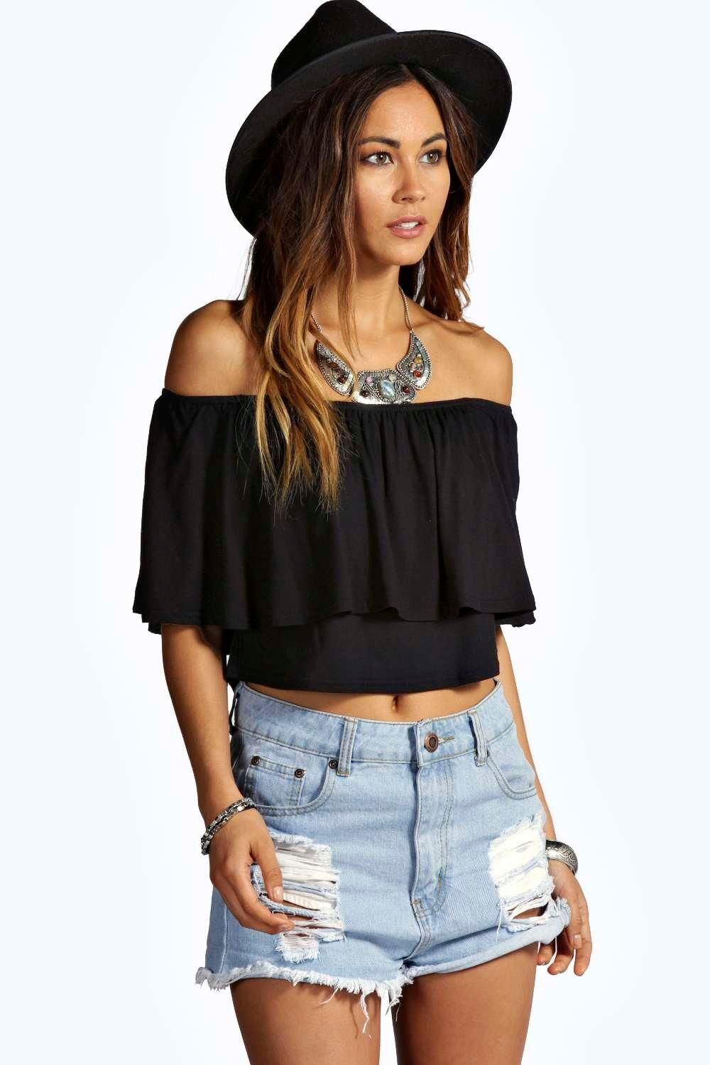 Libby Off The Shoulder Frill Crop Top | Boohoo