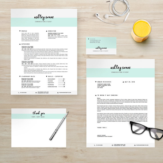 Resume Template Package | CV Template + Cover Letter + Business Card ...