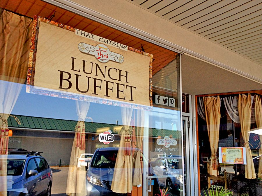 Our new Royal Thai Lunch Buffet sign! Located in Village Shopping Center, call 608-519-3033 for reservation requests, take out & delivery #ThaiFood #LaCrosseWi