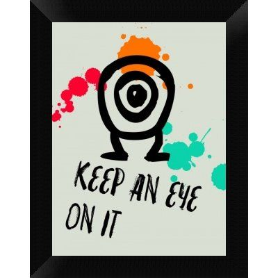 "Naxart 'Keep An Eye on it 1' Framed Graphic Art Print on Canvas Size: 18"" H x 14"" W x 1.5"" D"