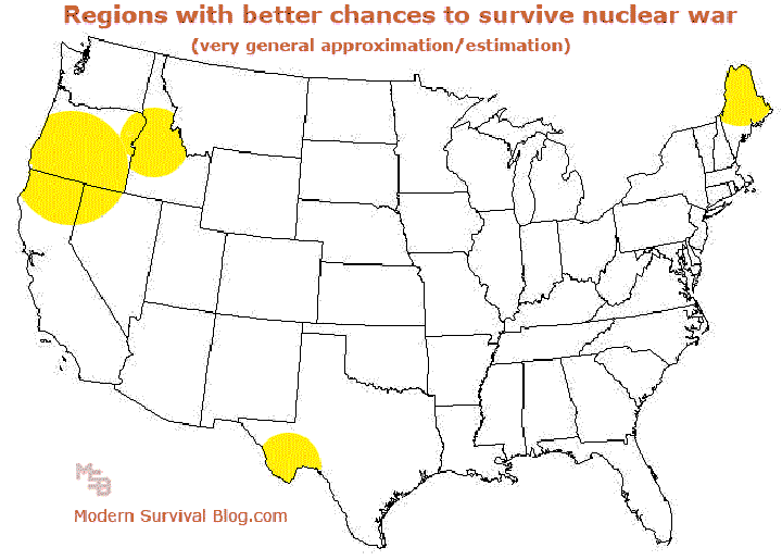 united states nuclear target map which shows potential nuke zones across the country