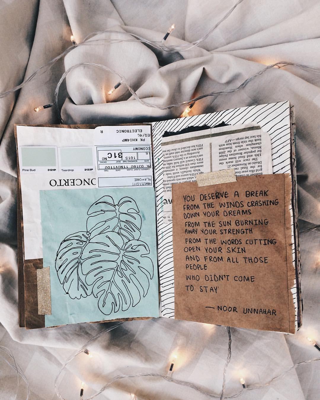 Inspiration Ideas: You Deserve A Break // Art Journal + Poetry By Noor