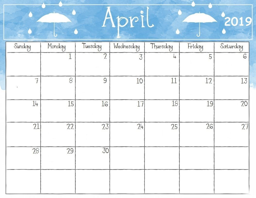 photograph regarding Calendar for April Printable named Watercolor April 2019 Table Calendar #april #april2019