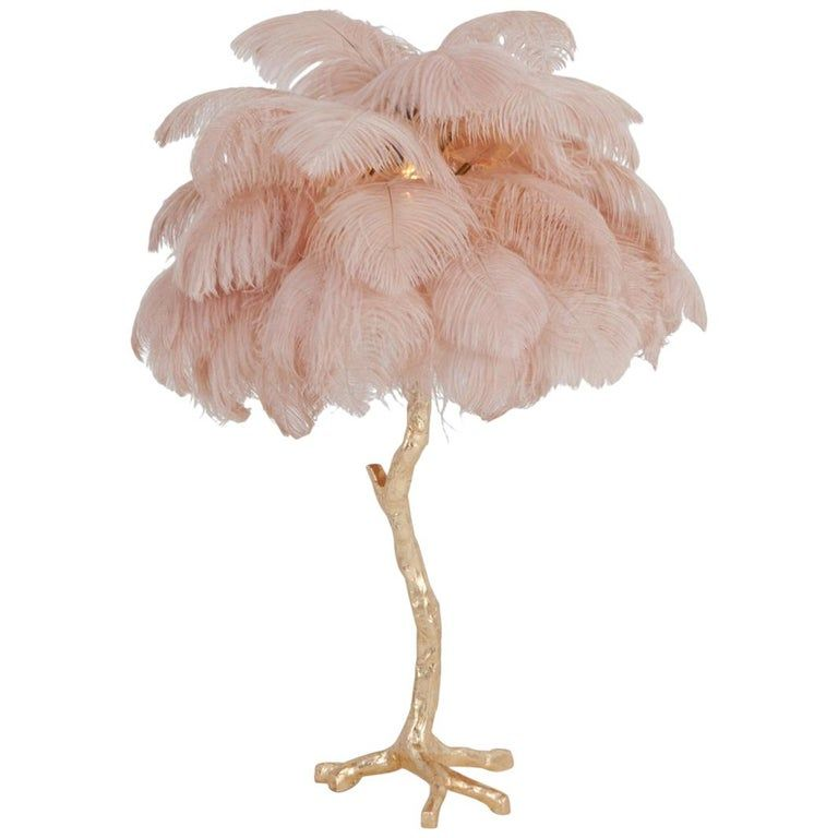 Hollywood Regency Brass And Pink Feather Lamp Feather Lamp Tree Floor Lamp Hollywood Regency