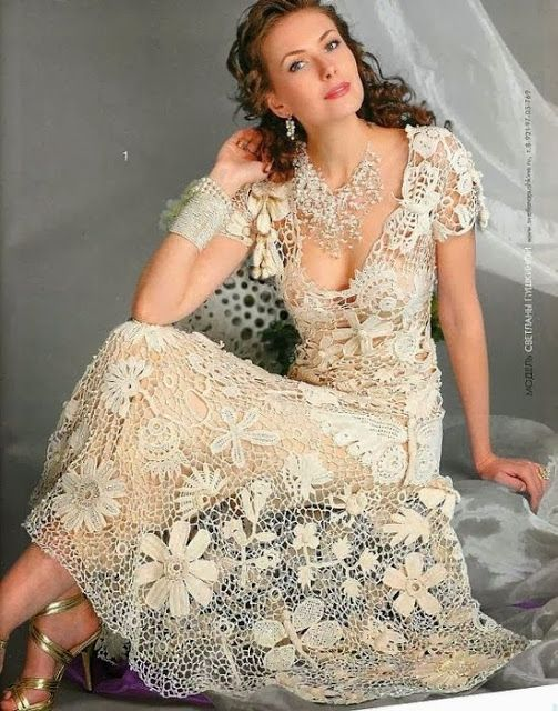 Crochet lace wedding dress pattern