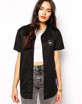 a023dd928209 Hype Button Up Baseball Jersey Top With Back Logo | ¦ C ...