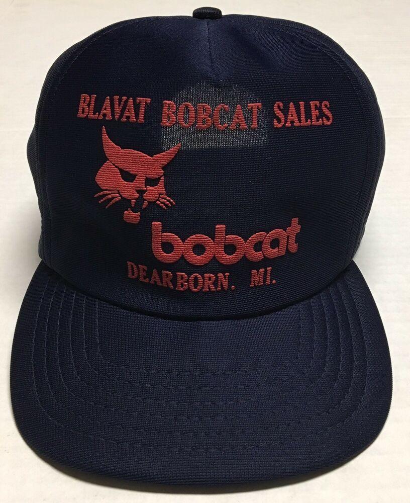 Vtg Blavat Bobcat Sales Trucker Hat Deerborn Michigan Cap Farm Ag Puff Print Mi Trucker Trucker Hat News Boy Hat Tan Hat