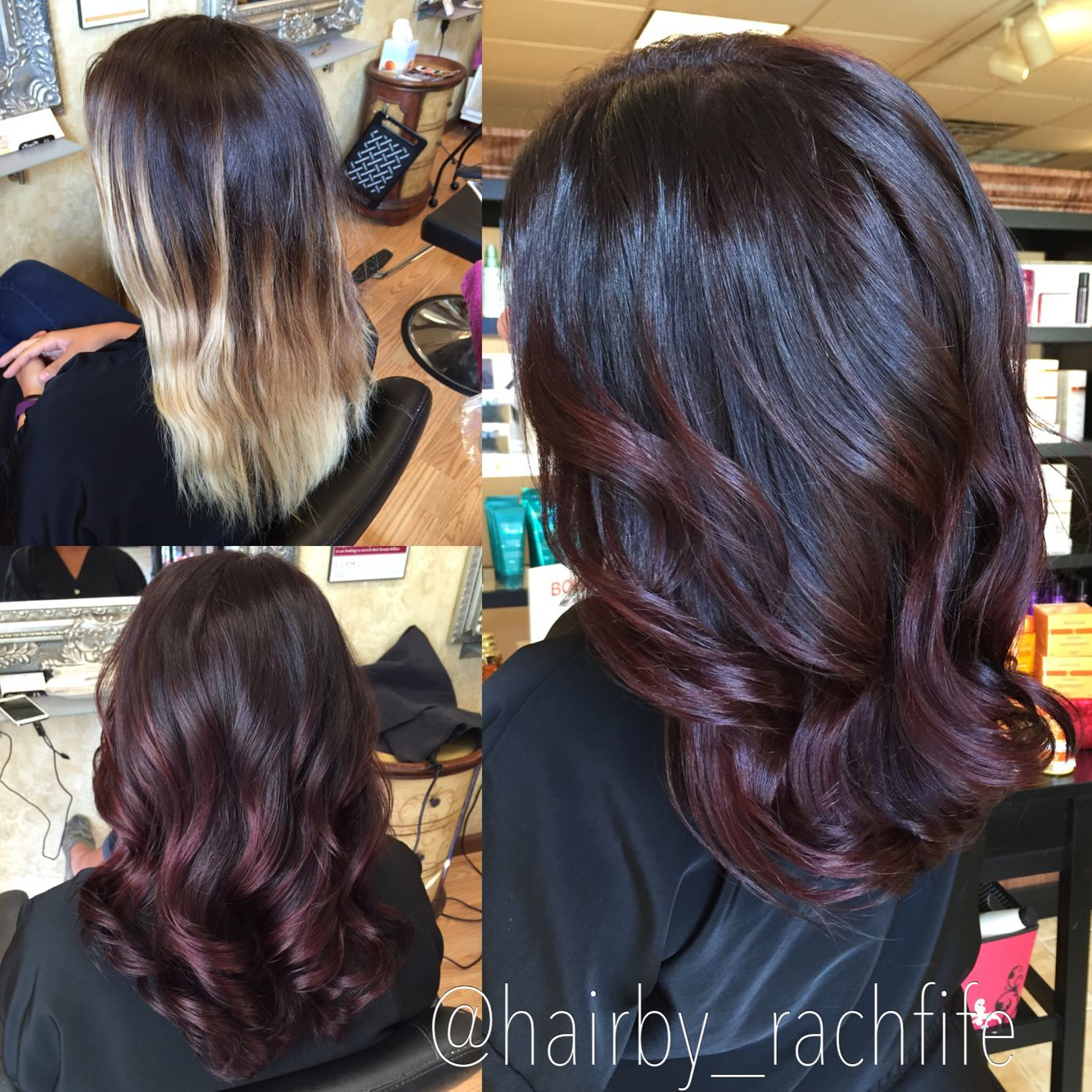 Before and after rich red violet ombre hair color. Custom color colormelt. hair …