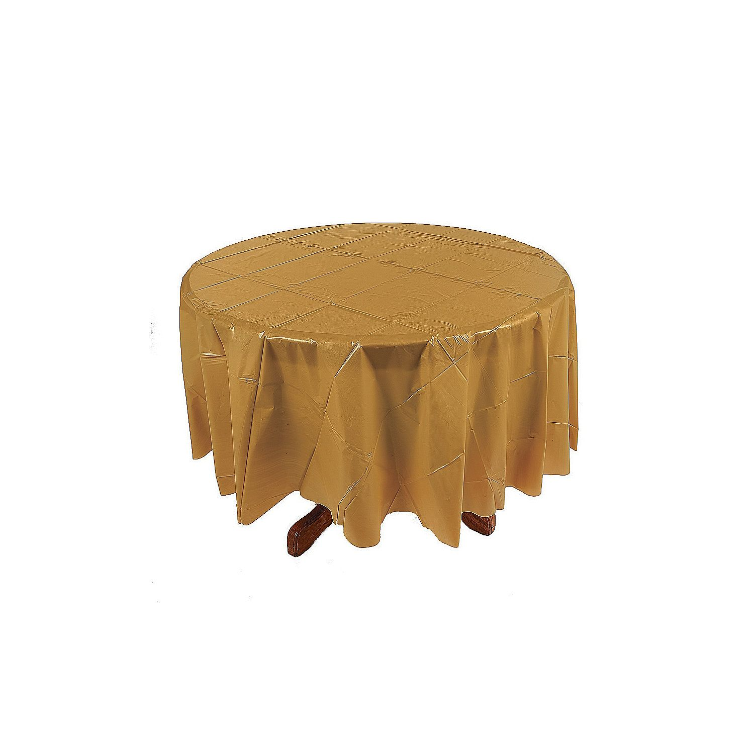 Gold Round Plastic Tablecloths