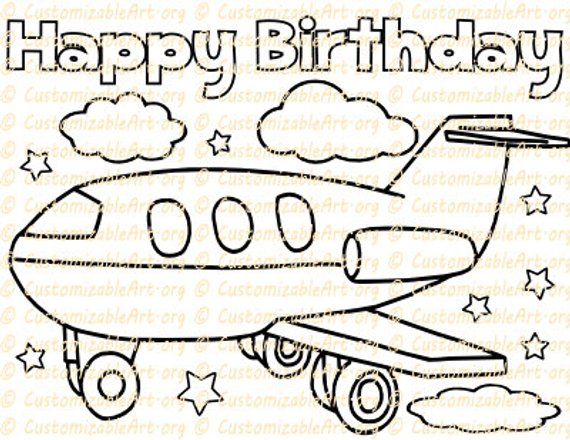 Airplane Party Favor Printable Birthday Coloring Page Sheet Plane