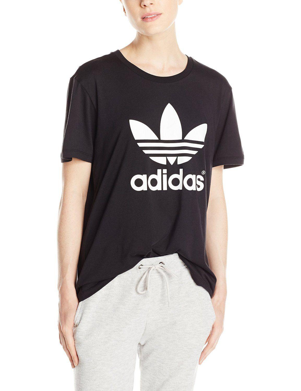 6bfdcf2fcbf83 Amazon.com: adidas Originals Women's Boyfriend Trefoil Tee: Clothing ...