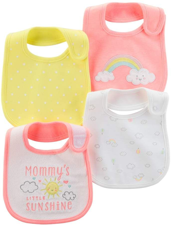 Baby Girl Carter's 4-pk. Clouds & Rainbows Bibs