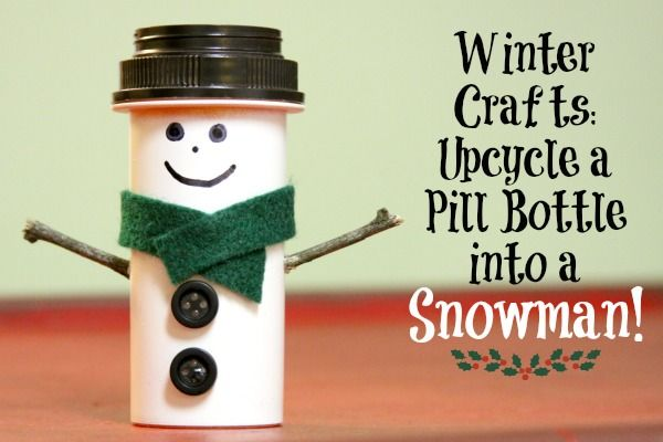 "Winter Crafts: Upcycle a Pill Bottle into a Snowman! I LOVE this!! I am a huge Snowman fan and this is just the cutest little thing ever!  Maybe someone could stick something like a ring inside as a gift too. lol ""It could happen. :)"