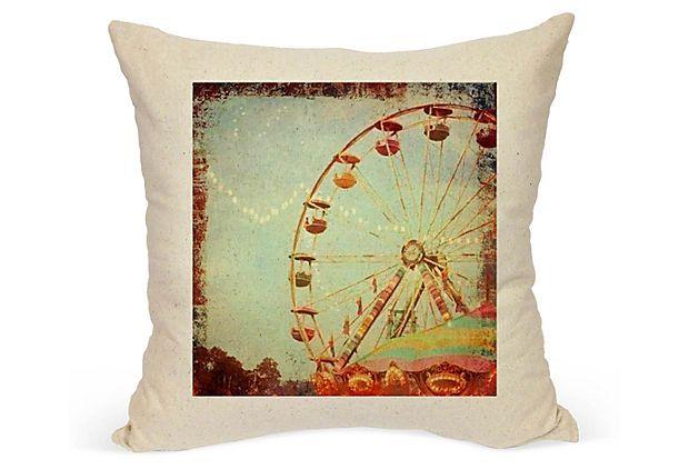 Ferris Wheel 20x20 Cotton Pillow, Multi FRENCH LAUNDRY HOME ($120.00)  $59.00 OneKingsLane.com