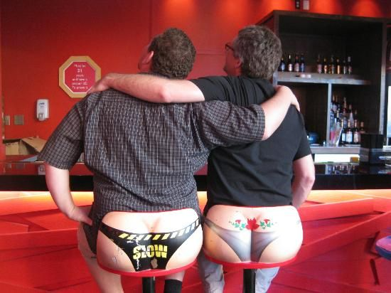 I had to look twice these are the backs of bar stools at Senor Frogs Las Vegas