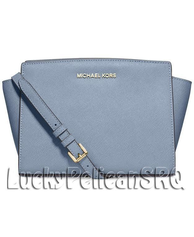 6d5825b89d50 MICHAEL KORS Selma Medium Saffiano Leather Messenger Crossbody Bag PALE BLUE  NWT  MichaelKors  MessengerCrossBody