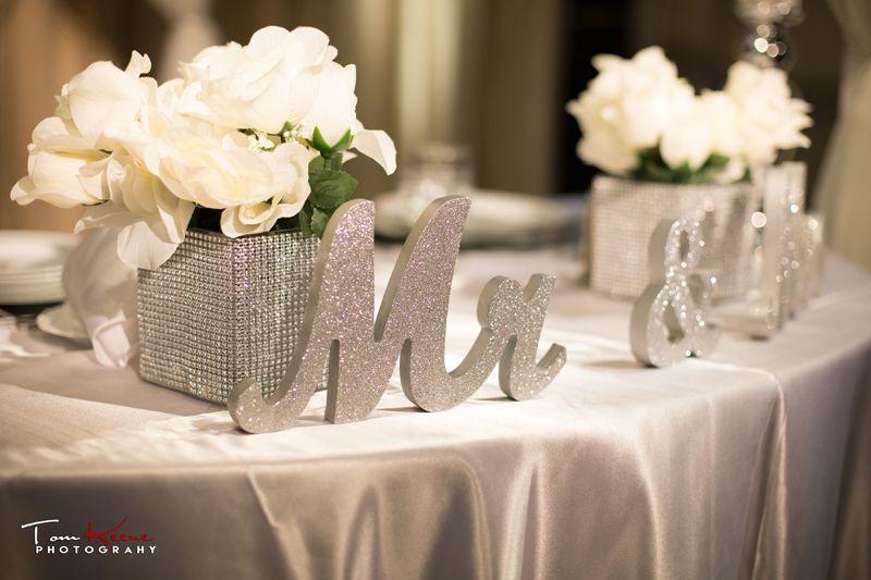 Sweetheart table atJasmine & Ryan's Winter White & Silver Wedding At Noor Pasadena. Photo by LADigitalPhoto