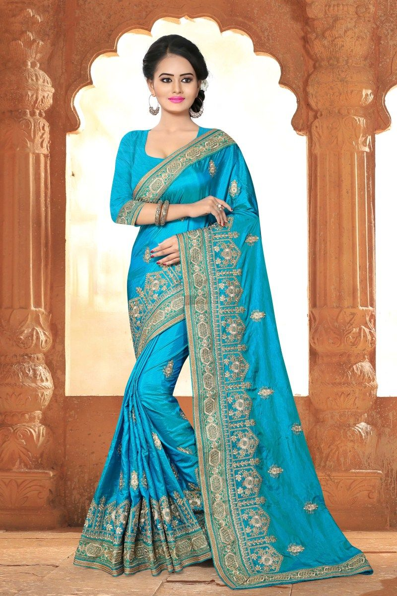 Silk Sky Blue Splendid Saree, Vogue and pattern could be at the peak ...