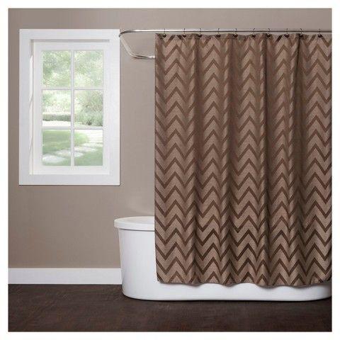 Chevron Polyester Linen Shower Curtain Brown 72x70