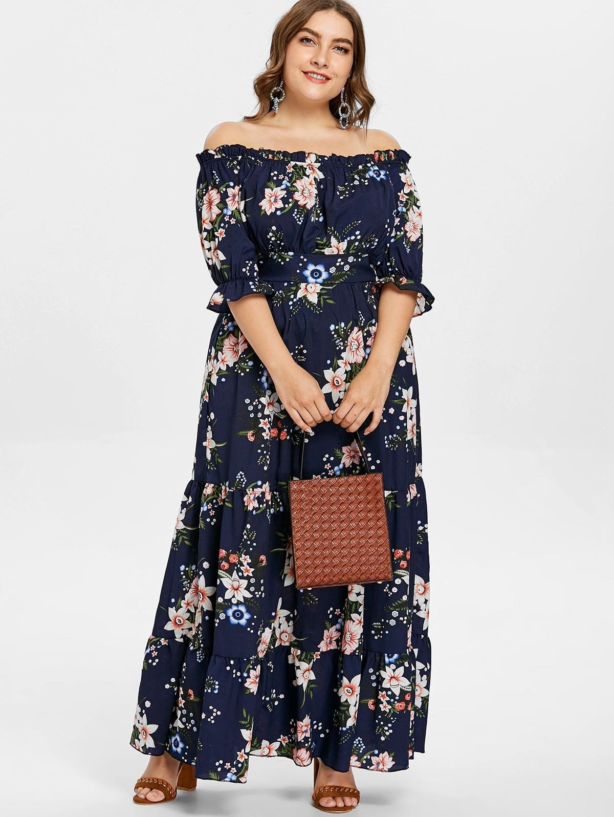Plus size flounce floral maxi dress Платья для