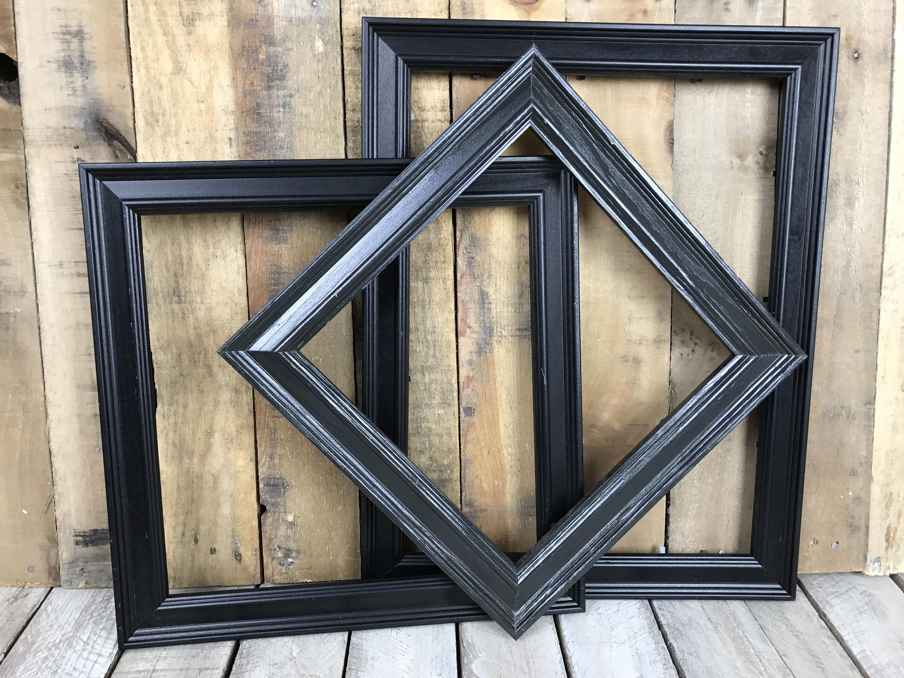 ON SALE - Black Picture Frame Set of 3 Rustic Set, 10x10, 12x12 ...
