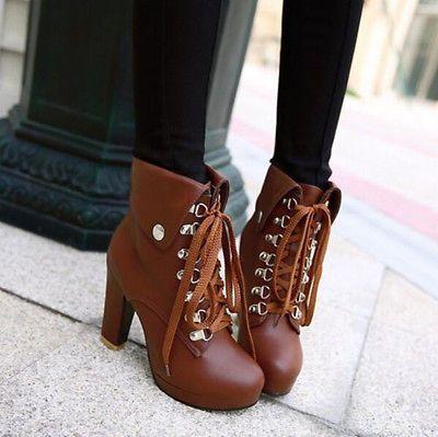 25e53b7c4f8 Para mujeres Con Cordones Botines De Moda Plataforma Bloque Tacón Alto  Botas al Tobillo Zapatos