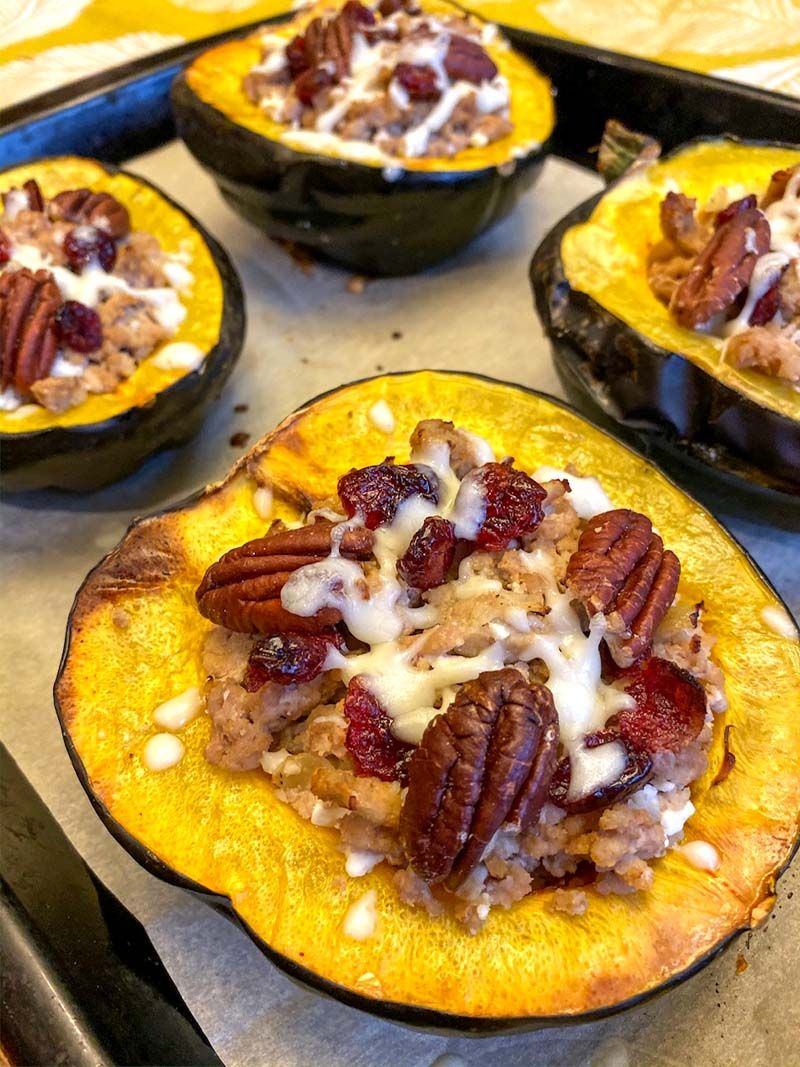 Turkey Stuffed Acorn Squash With Cranberries And Pecans Recipe