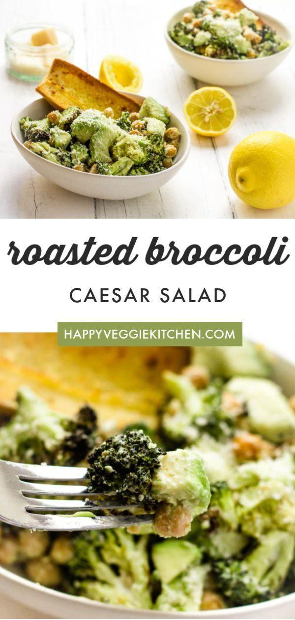 Warm Broccoli Caesar Salad Recipe Yummy Salad Recipes Roasted Broccoli Broccoli Salad
