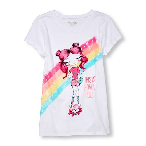 ca855742412fc s Short Sleeve  This Is How I Roll  Roller-Skating Fashionista Graphic Tee  - White T-Shirt - The Children s Place