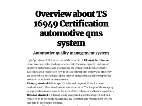 Overview about TS 16949 Certification automotive qms system | TS ...
