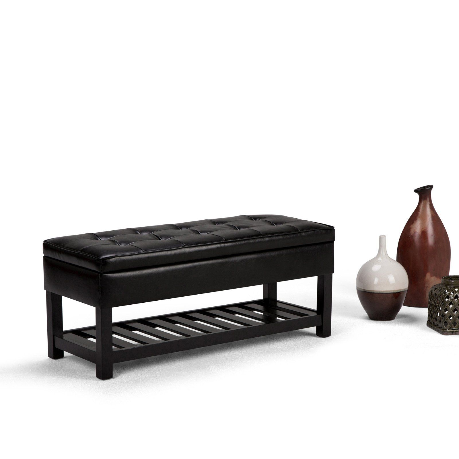 Brooklyn Max City Faux Leather Entryway Ottoman Bench Storage