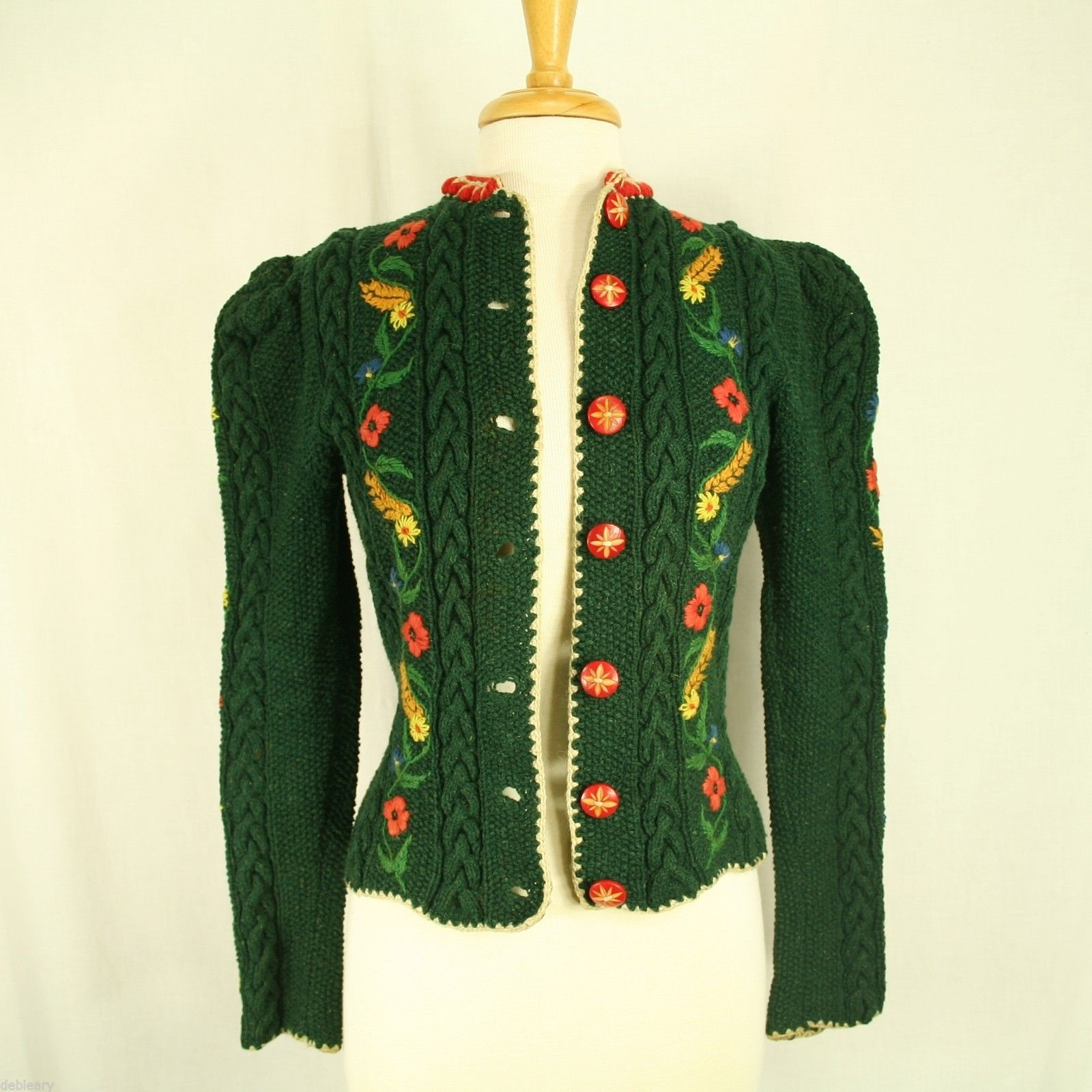 C 1940s Tyrolean Style Knitted Cardigan Retro Sweaters