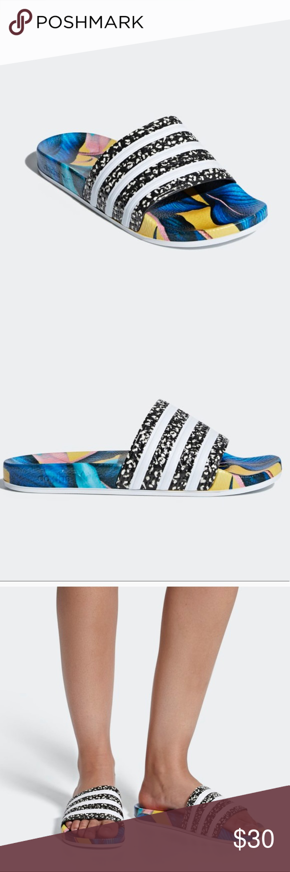 8717d623bf4f Adidas Adilette Slides Tropical Print NWT Size 7 Adidas slides. I bought  for myself but they are too big