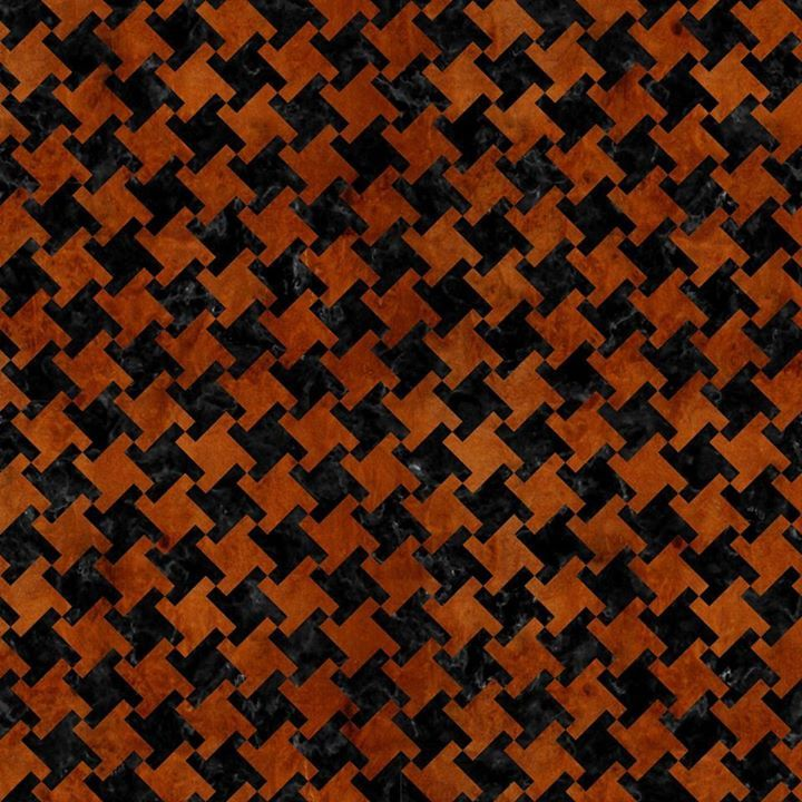 A houndstooth checked pattern using black marble and brown burled wood.