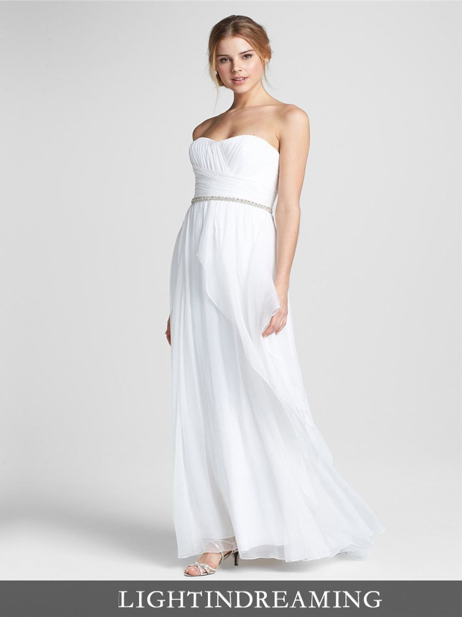 Simple Strapless Embellished Chiffon Column Wedding Dress with ...