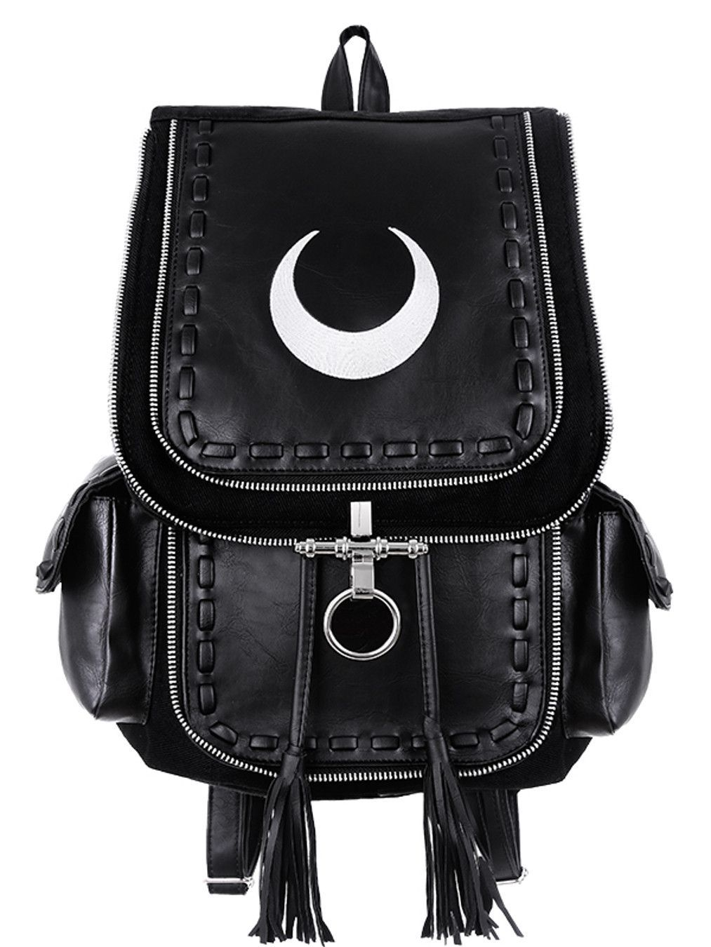 Restyle Gothic Witch Crescent White Moon Embroidered Black Denim Backpack  Black Denim fc98c0d00c31a