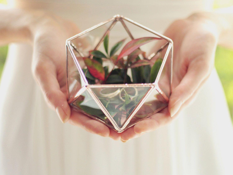 Ring Bearer Box Wedding Ring Box Glass Geometric Terrarium
