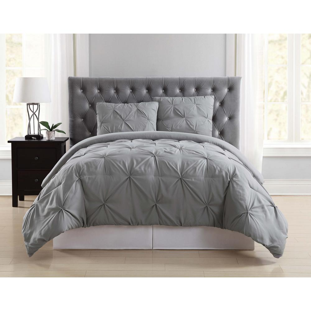 Truly Soft Everyday 3 Piece Grey Full Queen Comforter Set