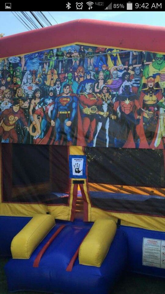 Scan to enter jolly jumper.  Super hero party