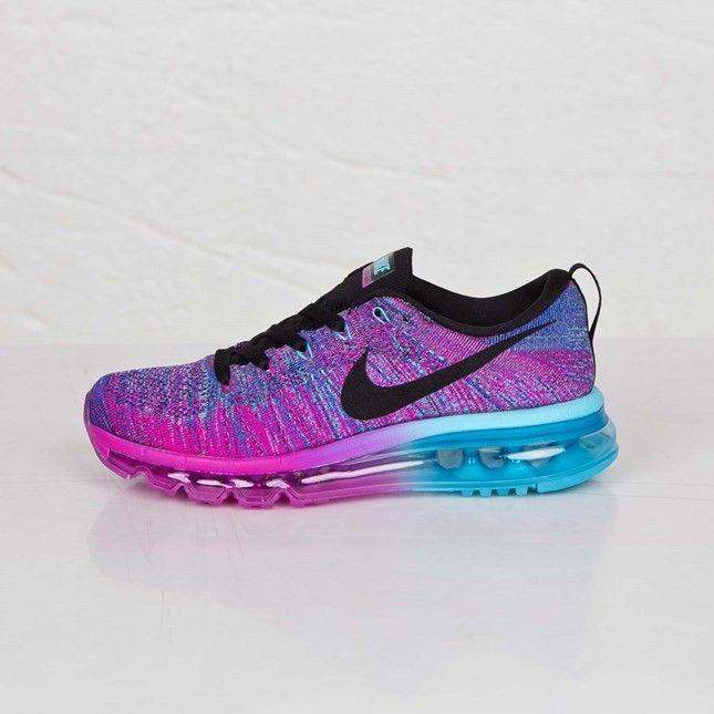 Nike Flyknit Air Max Souliers De Course Pour Femme Fuchsia  Éclair/Noir-Clearwater Chlore Bleu 620659-502 | Running shoes | Pinterest |  Éclairs, ...