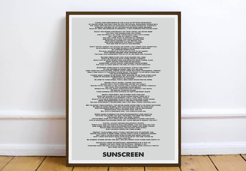 Baz Luhrmann Art Lyrique Lyric Quotes Lyrics Wear Sunscreen