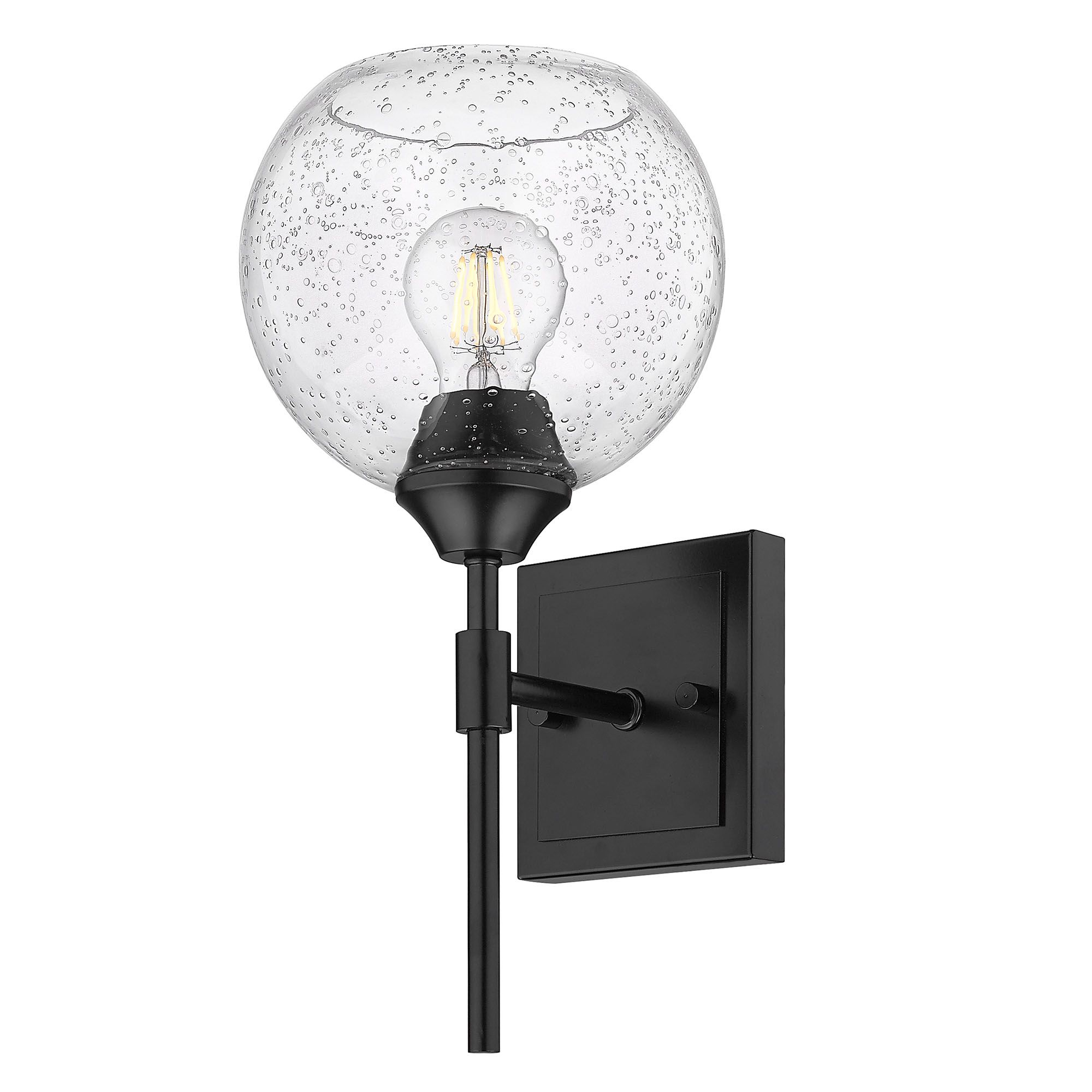 Ormond 1 Light Bath Fixture In Matte Black Seeded Globe Shade In 2020 Golden Lighting Black Vanity Light Bathroom Sconces